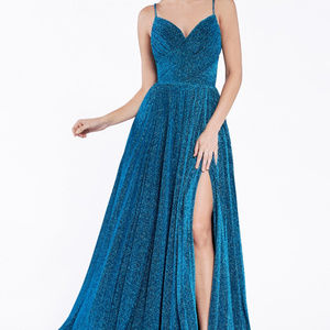 Navy Leg Slit Bridesmaid Long Dress